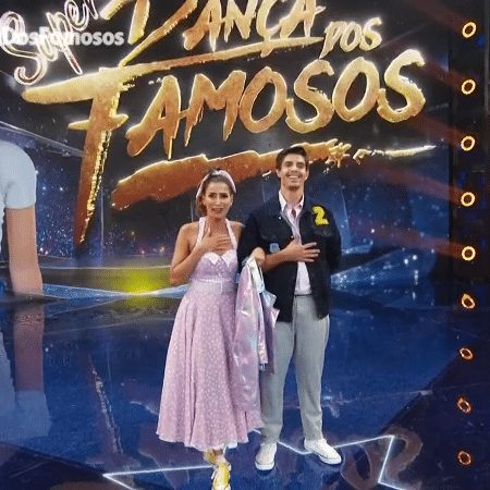 Maria Joana e seu parceiro Marcus Viana na primeira rodada da Super Dança do Famosos - Reprodução/Globoplay
