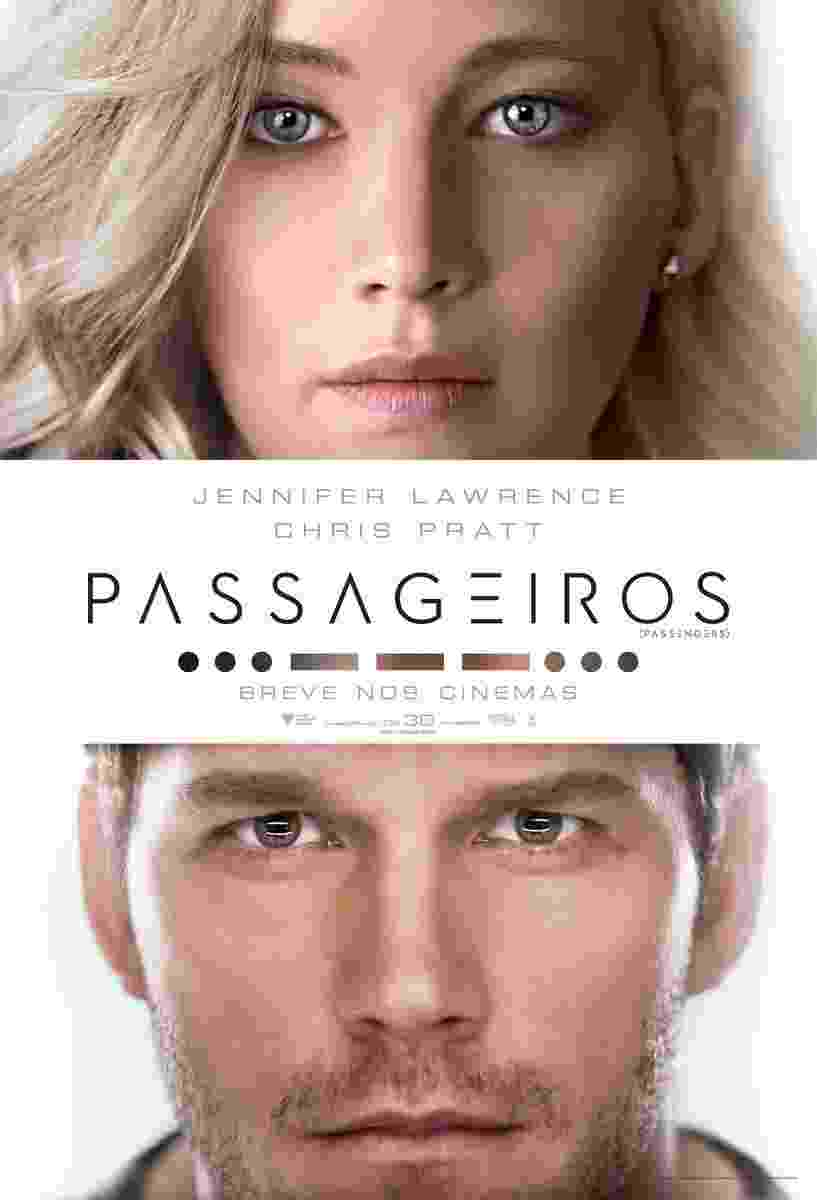 """Cartaz do filme """"Passageiros"""", dirigido por Morten Tyldum, com Chris Pratt e Jennifer Lawrence - Divulgação"""