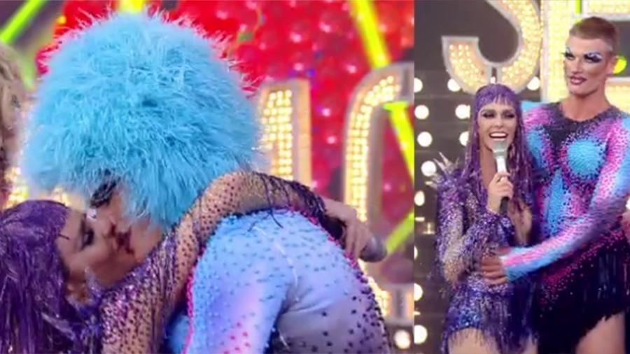 """Fernanda Lima beija Rodrigo Hilbert, caracterizado de drag queen para o """"Amor & Sexo"""" - Reprodução/TV Globo"""
