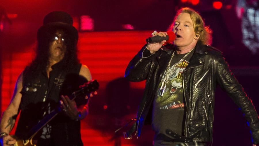 """Axl e Slash comandam o show do Guns N""""Roses na Cidade do Rock - Bruna Prado/UOL"""