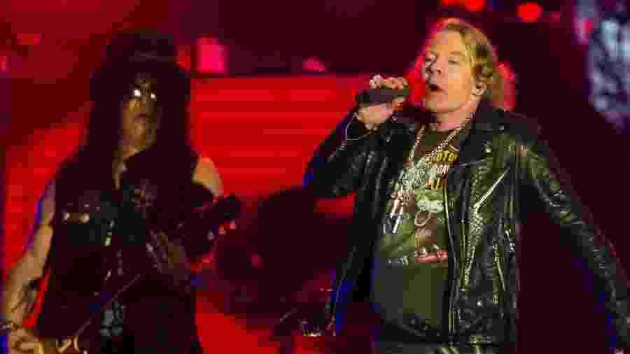 "Axl e Slash comandam o show do Guns N""Roses na Cidade do Rock - Bruna Prado/UOL"