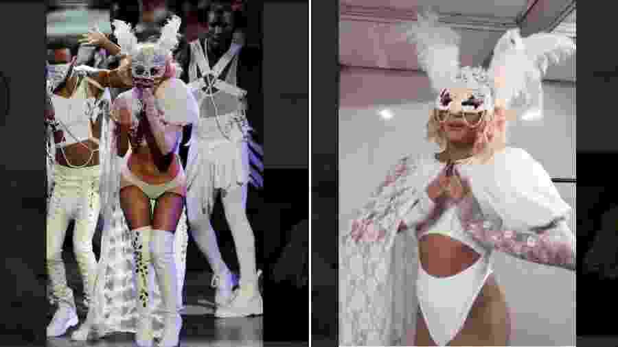 Lady Gaga no VMA em 2009 e Pabllo Vittar usando look inspirado - ReproduçãoInstagram