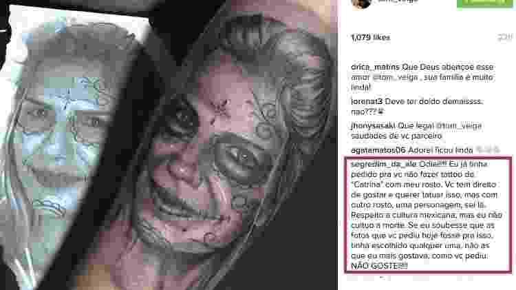 Tom Veiga fez uma tatuagem em homenagem a então mulher, Ale Veiga; mas ela detestou - Reprodução/Instagram - Reprodução/Instagram