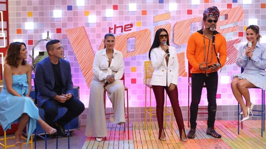 """Simaria, Simone, Claudia Leitte, Brown, André Marques e Thalita Rebouças participaram do lançamento do  """"The Voice Kids 4""""  - Divulgação/TV Globo"""