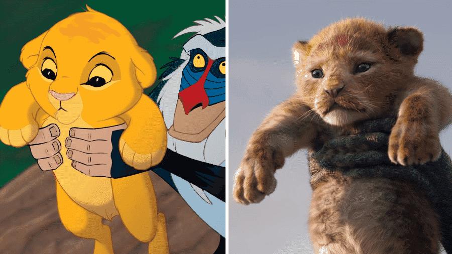 O nascimento de Simba no desenho e na nova versão de O Rei Leão - Reprodução/Montagem