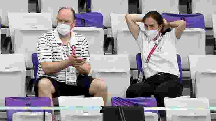 Príncipe Albert II, de Mônaco, assiste a competição de natação nas Olimpíadas de Tóquio - Jean Catuffe/Getty Images - Jean Catuffe/Getty Images