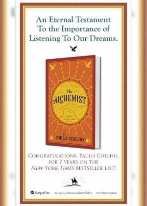 """Anúncio que será publicado pela editora HarperCollins para comemorar os sete anos de """"O Alquimista"""" na lista de mais vendidos do jornal """"The New York Times"""" - Reprodução"""