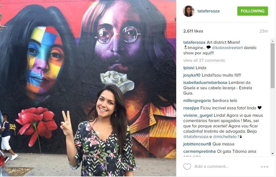 3.jan.2016 - A atriz Thais Fersoza está em Miami e posou em frente a um painel retratando John Lennon e Yoko Ono, pintado pelo grafiteiro brasileiro Kobra