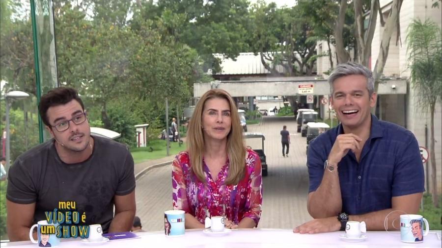 """Maitê Proença faz participação no """"Vídeo Show"""", ao lado de Joaquim Lopes e Otaviano Costa - Reprodução/TV Globo"""