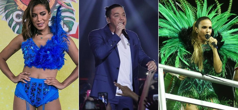Anitta, Wesley Safadão e Ivete estarão com seus trios no Carnaval de Salvador - UOL/Agnews