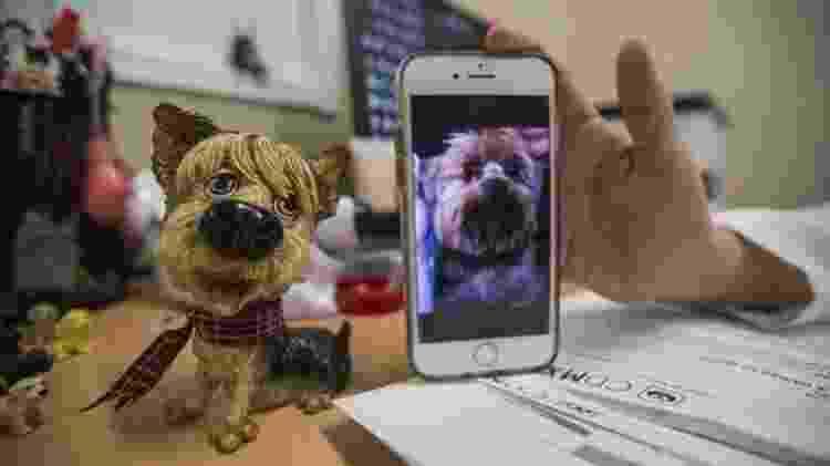 Silvia Viruega mostra foto do presente que mudou sua vida: Gary, um cão da raça Yorkshire Terrier igual à miniatura sobre a mesa dela - Clayton Conn/BBC - Clayton Conn/BBC