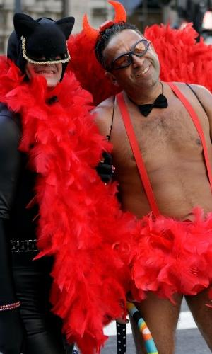 Fantasias sempre são vistas na av. Paulista durante a Parada LGBT, como a deste diabinho