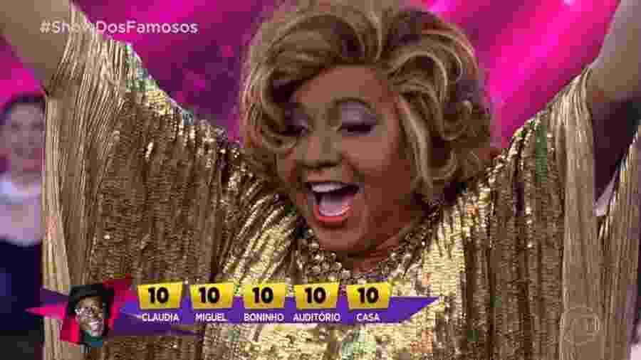 """Mumuzinho comemora cinco notas 10 que recebeu ao homenagear Alcione no """"Show dos Famosos"""" - Reprodução/TV Globo"""