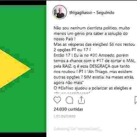 Post de Thiago Gagliasso que gerou um clima ruim na família, segundo um amigo - Reprodução/Instagram/@thiagogagliasso