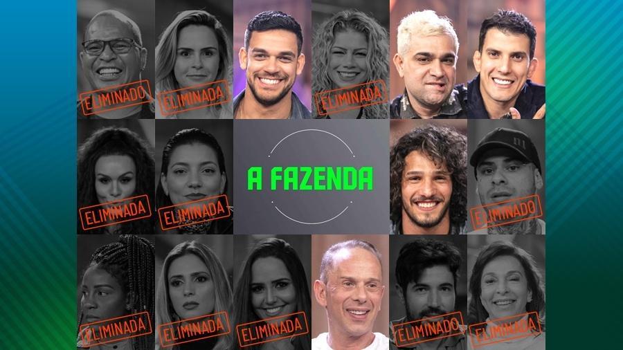"""Os cinco participantes finalistas de """"A Fazenda 10"""" - Montagem"""