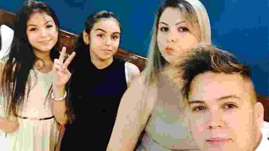 Melody e Bella Angel com a mãe, Glória, e o pai, MC Belinho - Reprodução/Instagram/@belinhooficial