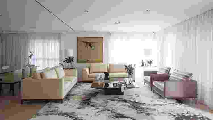 ara esse living sofisticado, Ieda Korman, do Korman Arquitetos, optou por um tapete desenhado pelo escritório, exclusivamente para o projeto - Gui Morelli - Gui Morelli