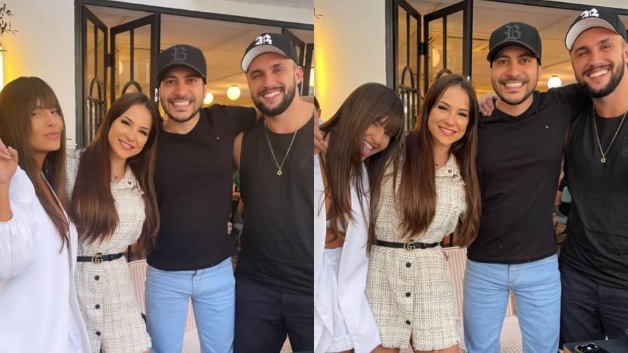 """Ex-participantes do """"BBB"""", Thaís Braz, Gabi Martins, Caio Afiune e Arthur Picoli almoçam juntos em São Paulo - Reprodução/Instagram"""