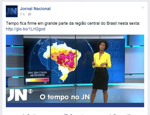"""Reprodução da página oficial do Facebook do """"Jornal Nacional"""" com foto de Maju"""