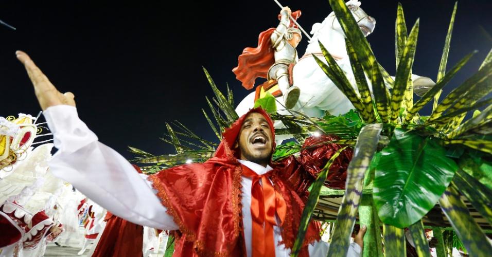7.fev.2016 - A Estácio de Sá encerra o desfile mencionando o hábito de visualizar a presença de São Jorge na Lua ? uma mania tipicamente brasileira.