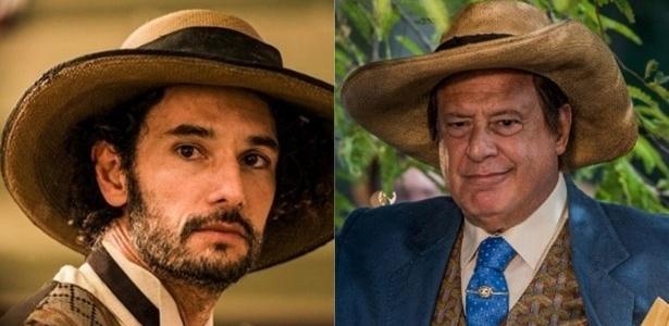 """Rodrigo Santoro e Antonio Fagundes como Afrânio de """"Velho Chico"""" - Reprodução e Caiuá Franco/Globo/Divulgação"""