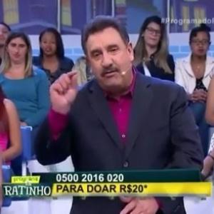 """Ratinho divulga números da campanha do  """"Criança Esperança"""" no SBT - Reprodução/SBT"""