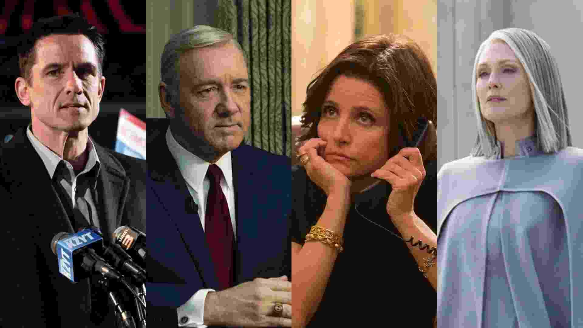 """Cenas das séries """"The Killing"""" (2011), """"House of Cards"""" (2013) e """"Veep"""" (2012) e do filme """"Jogos Vorazes: A Esperança - O Final"""" (2015), de Francis Lawrence - Montagem/Reprodução"""