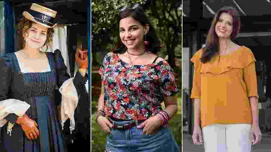 Leopoldina (Letícia Colin), Keyla (Gabriela Medvedovski) e Maria Pia (Mariana Santos): atrizes usam enchimentos na TV - Fotos de divulgação/TV Globo