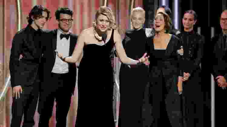 Greta Gerwig, diretora de Lady Bird, discursa após o filme ganhar o Globo de Ouro de melhor comédia ou musical -  Paul Drinkwater/Courtesy of NBC/Handout via REUTERS -  Paul Drinkwater/Courtesy of NBC/Handout via REUTERS