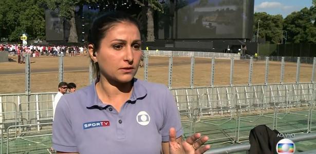 """Repórter Marina Izidro """"vaza"""" durante transmissão ao vivo em Londres para o """"Globo Esporte"""""""