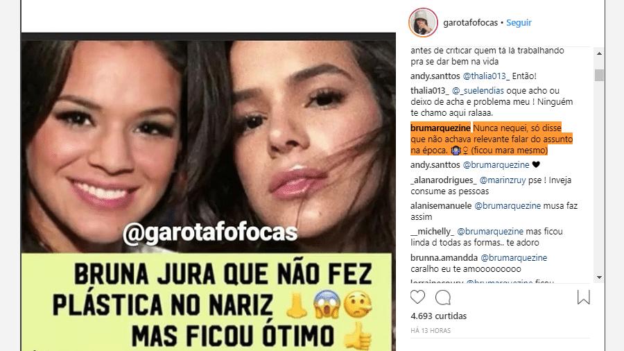 Bruna Marquezine confessa que fez plástica no nariz em publicação no Instagram - Reprodução/Instagram