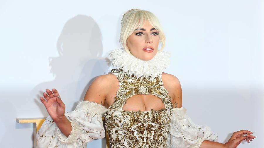 """Lady Gaga no lançamento de """"Nasce Uma Estrela"""", em Londres - Getty Images"""