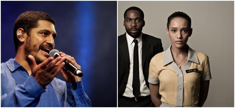 O rapper Criolo e os atores Lázaro Ramos e Taís Araújo - Montagem UOL