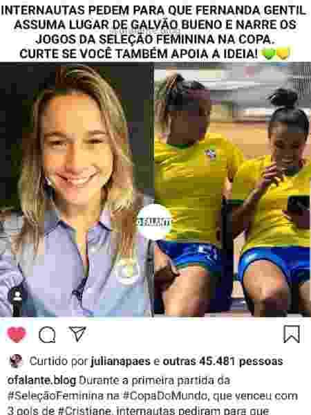 Ju Paes curte campanha pedindo Fernanda Gentil no lugar de Galvão Bueno - Reprodução/Instagram