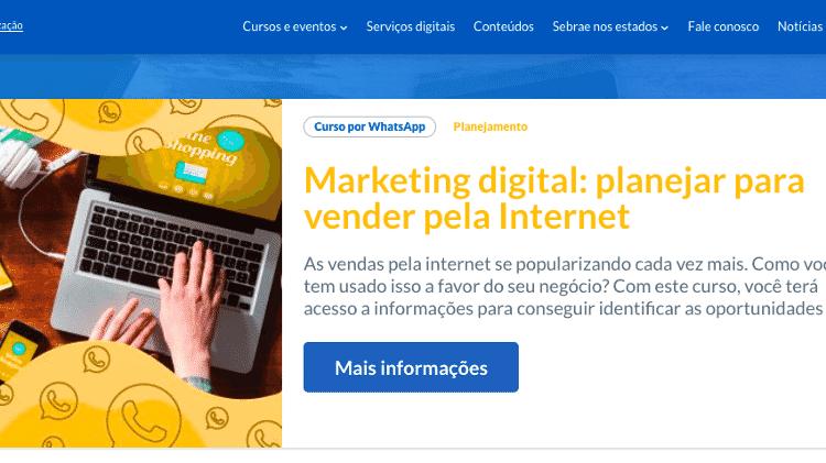 Sebrae: curso de vendas pela internet pelo app de celular!  - Reprodução www.sebrae.com.br - Reprodução www.sebrae.com.br