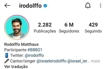 BBB 21: Rodolffo atinge marca de 6 milhões de seguidores no Instagram