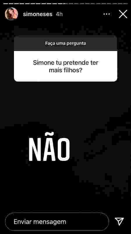 Simone respondeu às perguntas no Instagram Stories - Reprodução/Instagram - Reprodução/Instagram