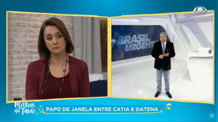 """Cátia Fonseca e José Luiz Datena no """"Melhor da Tarde"""" - Reprodução/Band"""