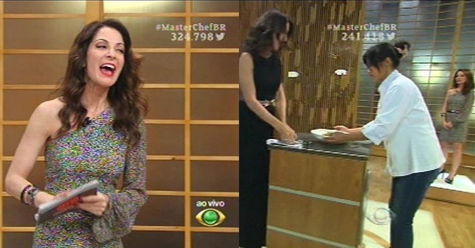 15.set.2015 - Ana Paula Padrão no programa ao vivo e na eliminação de Jiang no dia 8 de setembro repetindo o mesmo look