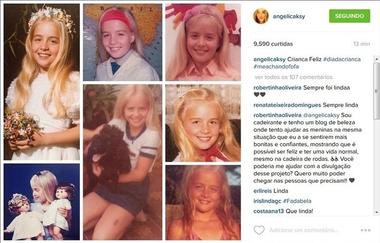 """12.out.2015 - No Dia das Crianças, Angélica mostra várias fotos de infância, nas quais já aparecia com o cabelão loiro que se tornou sua marca registrada. """"Criança feliz"""",. escreveu a apresentadora"""