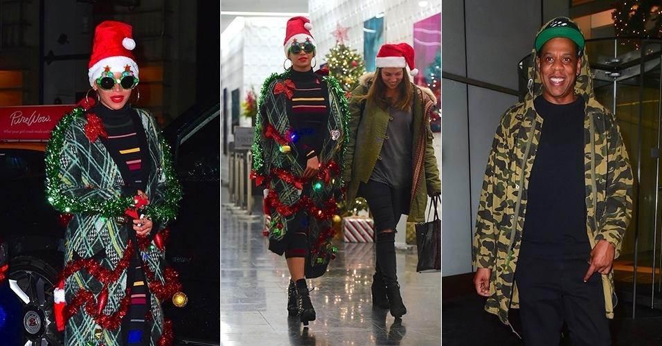 14.dez.2015 - Beyoncé aparece com look natalino após a festa de seu escritório