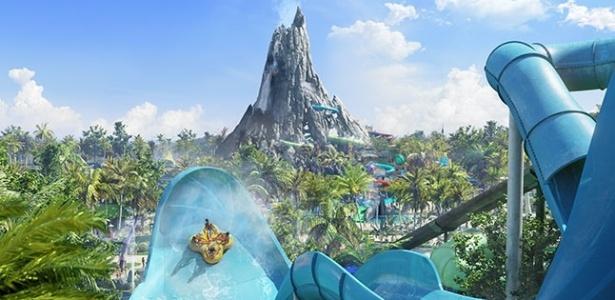 Projeção artística do Volcano Bay, novo parque aquático do Universal Orlando Resort - Divulgação/Universal Orlando Resort
