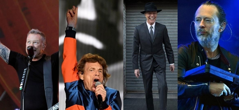 Metallica, Rolling Stones, David Bowie e Radiohead, que lançaram álbuns em 2016 - Reuters/AFP/Divulgação/AP/Montagem