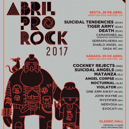 Flyer oficial do Abril Pro Rock 2017 - Divulgação