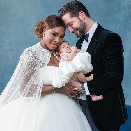 A tenista Serena Williams com o marido, Alexis Ohanian, e a filha, Alexis Olympia - Divulgação