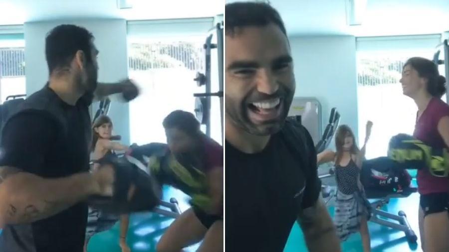 """Sofia, filha de Grazi Massafera, """"invade"""" treino de luta da mãe com Chico Salgado - Reprodução/Instagram"""