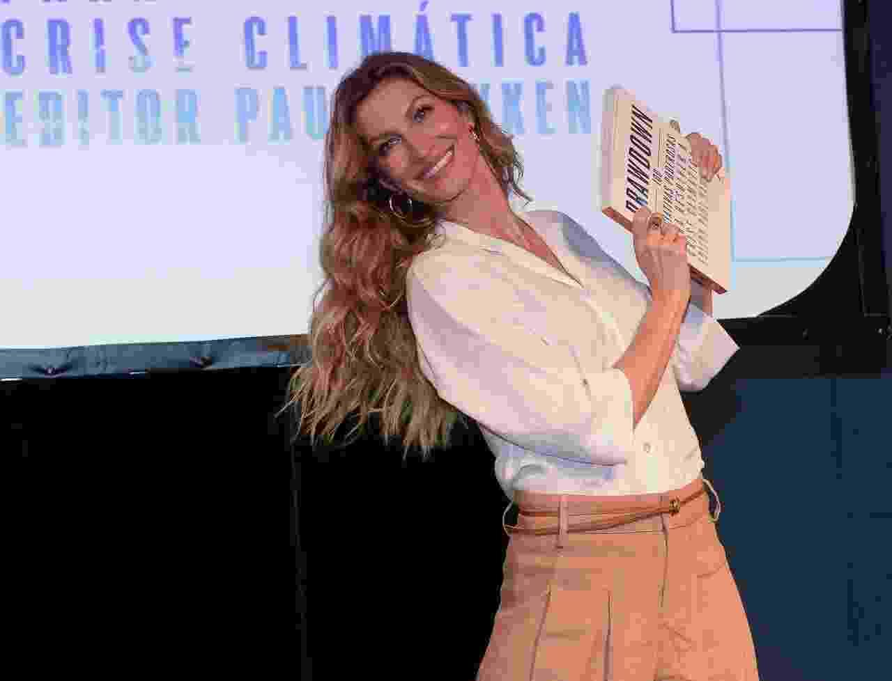 """Gisele Bündchen esteve em São Paulo nesta sexta para o lançamento de """"Drawdown - 100 Iniciativas Poderosas para Resolver a Crise Climática"""", livro do ambientalista americano Paul Hawken - Francisco Cepeda/AgNews"""