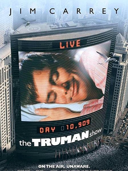 """Capa do filme de 1998 """"O Show de Truman"""", com Jim Carrey - Reprodução"""