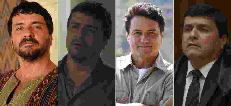 """Jandir Ferrari em """"O Rico e Lázaro"""", """"A Força do Querer"""", """"Apocalipse"""" e """"Segundo Sol"""" - Montagem/UOL/Divulgação/Record/Reprodução/TV Globo"""