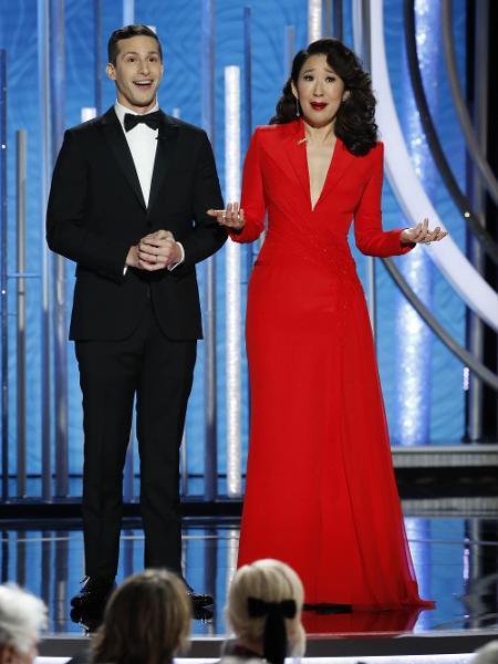 Andy Samberg e Sandra Oh, apresentadores do Globo de Ouro 2019 - Paul Drinkwater/NBC Universal/Reuters